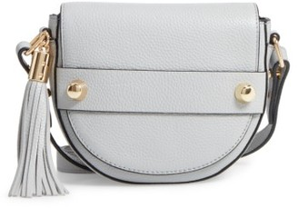 Milly Astor Leather Crossbody Saddle Bag - Grey $275 thestylecure.com