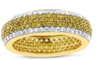 14k Yellow Gold 2.10ct. White & Yellow Diamond Pave Eternity Band Ring Size 7.25