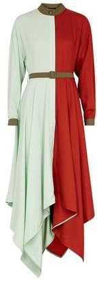 Anna October Colour-block Brushed Satin Shirt Dress
