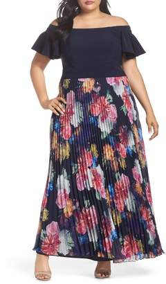 Xscape Evenings Ruffle Sleeve Off The Shoulder Pleated Maxi Dress (Plus Size)