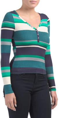 Juniors Striped Long Sleeve Henley Top