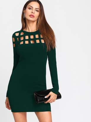 Shein Geo Cut Yoke Form Fitting Dress