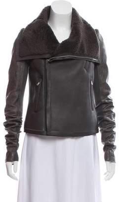 Rick Owens Leather Zip-Up Jacket