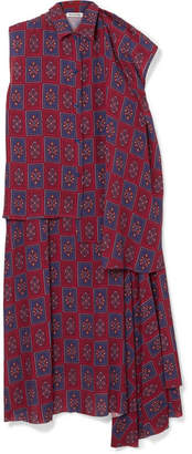 Balenciaga Twinset Convertible Asymmetric Printed Crepe De Chine Dress - Burgundy