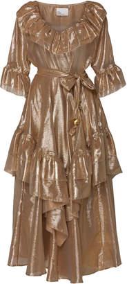 Lisa Marie Fernandez Laura Ruffled Lamé Midi Dress