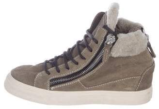 Giuseppe Zanotti Shearling-Trimmed High-Top Sneakers