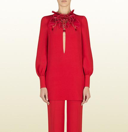 Gucci Silk Tunic With Embroidered Neckline