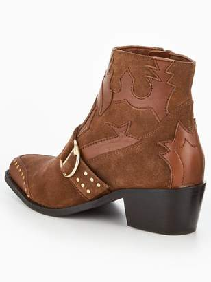 Very Tilly Real Suede Studded Western Boot - Tan