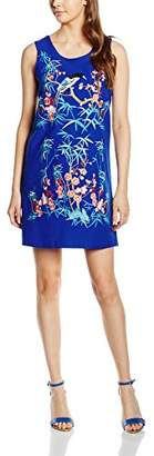 Almost Famous Women's Embroidered Bird Shift Column Floral Sleeveless Dress