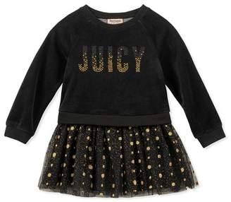 Juicy Couture Velour Sweatshirt Top & Layered Tulle Bottom Dress (Baby Girls 12-24M)