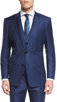 Hugo Boss Hevans Three-Piece Wool Suit, Navy $1,145 thestylecure.com