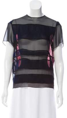 Corso Como Velvet Sheer-Accented Top