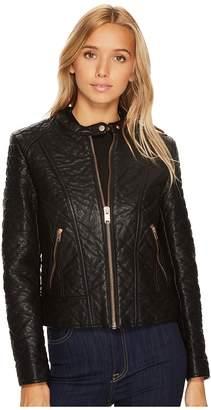 Andrew Marc Blakely 21 Faux Bubble Leather Jacket Women's Coat