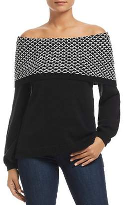 Heather B Foldover Off-the-Shoulder Sweater
