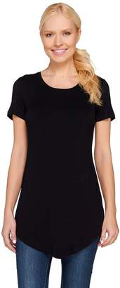 Logo By Lori Goldstein LOGO Layers by Lori Goldstein Short Sleeve Scoop Neck Top with Curved Hem