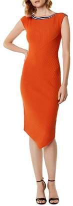 Karen Millen Asymmetric Rib-Knit Midi Dress