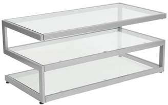Flash Furniture Ashmont Collection Glass Coffee Table with Contemporary Steel Design