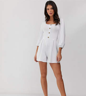 Asos Tall DESIGN Tall ruffle square neck button front romper