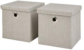 Very Set Of 2 Glitter Paperloom Folding Lidded Cube Boxes