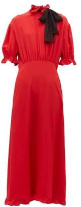 Miu Miu Pussy Bow Silk Crepe Dress - Womens - Red