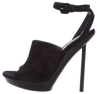 Saint Laurent Suede High-Heel Sandals