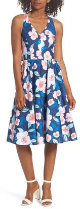 Eliza J Floral Fit & Flare Halter Dress (Regular & Petite)