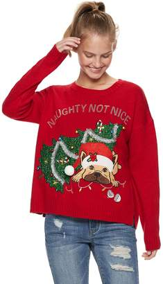 "It's Our Time Its Our Time Juniors' Naughty Not Nice"" Dog Christmas Sweater"
