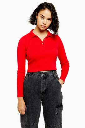 Topshop Womens Petite Red Button Front Long Sleeve Polo - Red