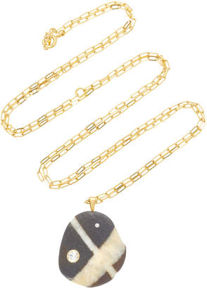 Cvc Stones Locus 18K Gold Beach Stone and Diamond Necklace