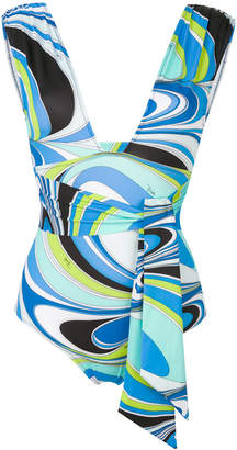 printed tie-front swimsuit
