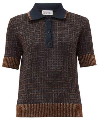 RED Valentino Lurex Check Knitted Polo Shirt - Womens - Navy Multi