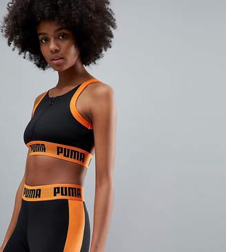 Puma Exclusive To Asos Zip Up Bra Top In Black And Orange