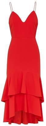 Alice + Olivia Amina Red Ruffled-hem Dress