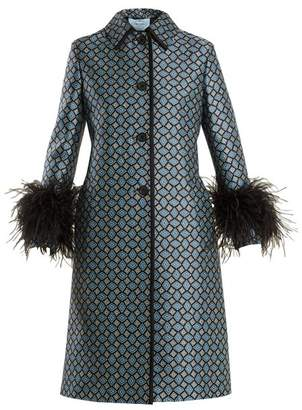 Prada Feather Trimmed Wool Blend Coat - Womens - Blue Print