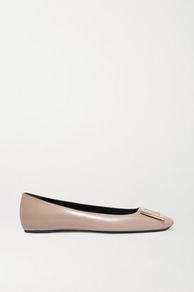 Roger Vivier Quadrata Trompette Embellished Leather Ballet Flats - Taupe