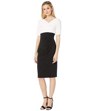 Adrianna Papell Color Block Knit Crepe Sheath Dress