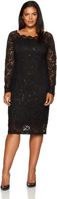 Tiana B T I A N A B. Women's Size Scallop Neck Sequin Lace Dress Plus