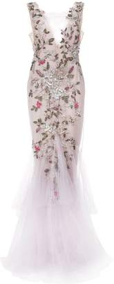 Marchesa floral beaded gown