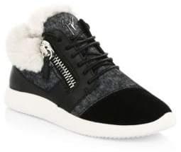 Giuseppe Zanotti Felt& Faux Fur Zip Sneakers
