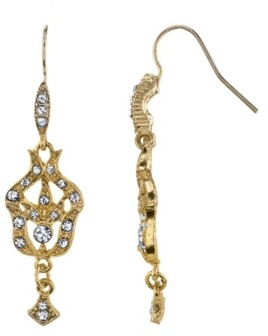 Downton Abbey Gold-Tone Belle Epoch Pave Fleur with Crystal Accents Drop Earrings
