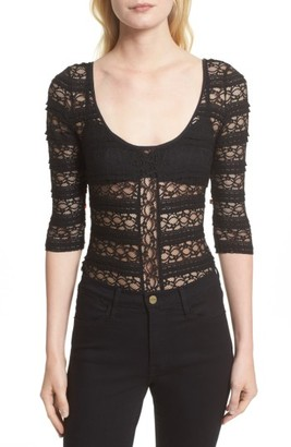 Women's Cinq A Sept Marla Silk Lace Bodysuit $195 thestylecure.com