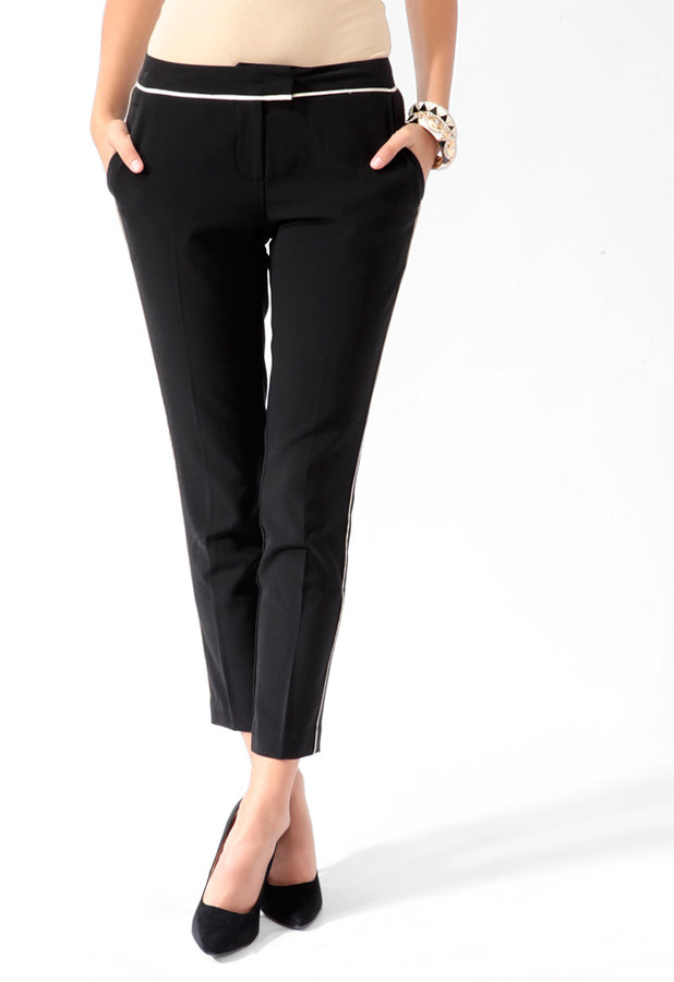 Love 21 Contrast Trim Ankle Pants