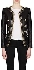 Balmain Women's Chain-Embellished Leather Double-Breasted Jacket-Black