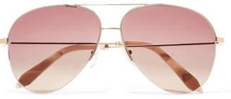 Victoria Beckham - Aviator-style Gold-tone Sunglasses - Pink