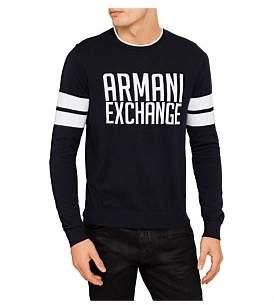 Armani Exchange Cotton Cashmere Logo Crewknit