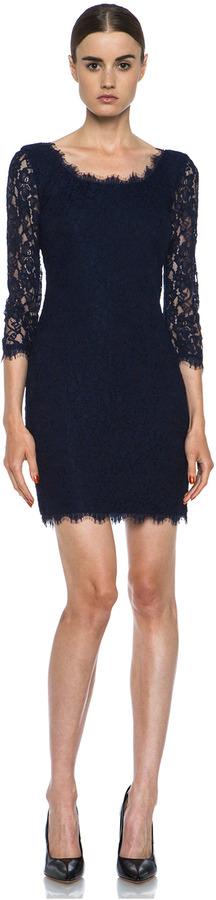 Diane von Furstenberg Zarita Lace Knit Scoop Dress in Navy