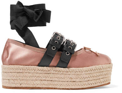 Miu Miu - Leather-trimmed Satin Platform Espadrilles - Antique rose