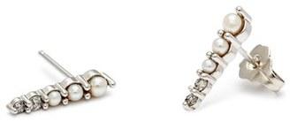 Women's Anna Sheffield 'Pave Pointe - Medium' Diamond & Seed Pearl Stud Earrings $1,400 thestylecure.com