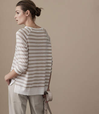 Reiss JUDE STRIPED T-SHIRT Barley/Offwhite