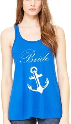 Clementine Apparel Women's Bride Anchor Printed Flowy Racerback Tank Top